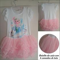 Vestido Infantil - Vestido Elsa (frozen) Com Saia Tutu