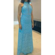 Vestido De Festa Longo Rendado Azul
