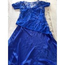 Vestido De Festa Azul Com Detalhe Em Renda