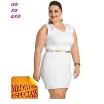 Vestido Branco Renda Festa Plus Size Paetê P Gg Xg Reveillon
