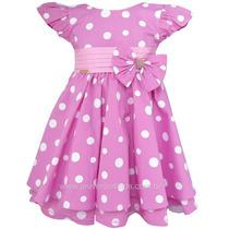 Vestido De Festa Para Crianca Minnie Rosa