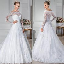 Vestido De Noiva Manga Curta Importado Maravilhoso 030