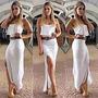 Vestido Longo Babado Fenda Na Perna Lindo Moda Blogueiras