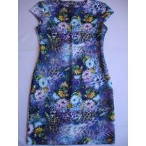 Vestido Tubinho Estampa Floral Neoprene Casual Feminino