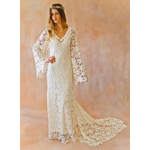 Luxo: Vestido De Noiva Boho Em Renda Guipir Manga Longa Sino