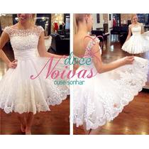 Vestido De Noiva Debutante Curto Pérola Pronta Entrega