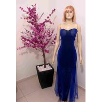 Vestido Azul Longo De Festa Importado Pronta Entrega