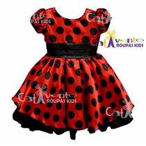 Vestido Fantasia Infantil Festa Minnie/joaninha Com Tiara
