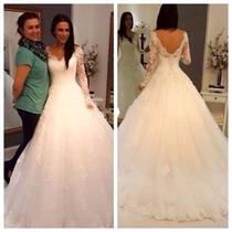 Luxo Vestido De Noiva Princesa Em Tule Bordado Personalizado
