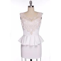 Mini Vestido De Malha Com Renda - Pronta Entrega