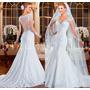 Vestido De Noiva Importado Manga Curta Maravilhoso 029