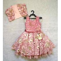 Vestido Infantil Com Colete Luxo Flores - Bambina Fashion