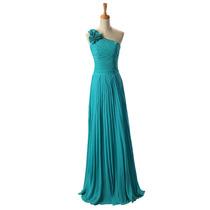 Vestido De Noite De Festa De Flor Longo Azul