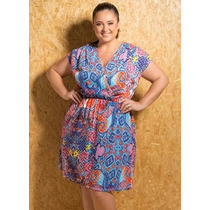 Vestido Curto Plus Size Azul Verão - Roupa Tamanhos Grandes