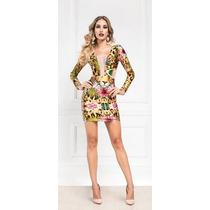 Vestido Curto Maxi Decote Onça Digital Maria Gueixa Ref 3080