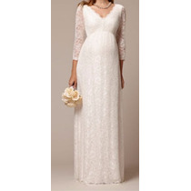 Vestido Noiva Gestante Renda Festa Simples Casamento Manga