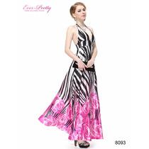 Vestido De Festa Longo Costa Nua Estampado Longo Ever Pretty