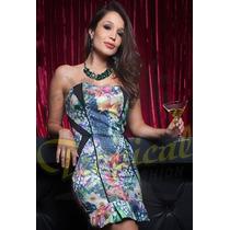 Vestido Tqc Curto Peplum Estampa Floral Bojo Tropicalfashion