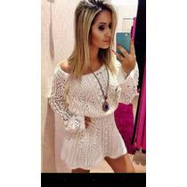 Vestido Tricot Crochet Bata Blusa Flare Boca Sino+ Forro