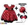 Vestido Minnie Fantasia Festa Minie + Tiara + Brinde Chapéu