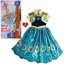 Fantasia Vestido Frozen Fever Anna+ Tiara Pronta Entrega