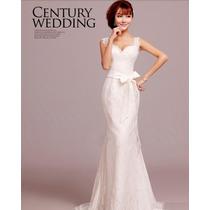 Vestido De Noiva De Renda Até O Chão Manga Curta Importado