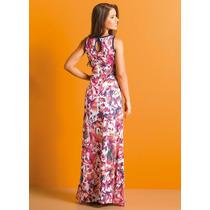 Vestido Longo Juvenil Floral Com Fenda #promo Pronta Entrega