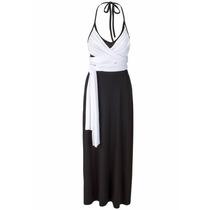Vestido Frente Única De Viscolycra Preto/branco Longo