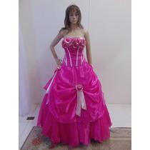 Vestido 15 Anos Rosa, Saia Longa Com Aplicado, Bordado À Mão