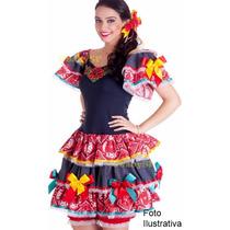 Vestido Junino Adulto Roupa Festa Junina Caipira Luxo