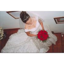Vestido De Noiva_em Renda Com Strass + Véu + Tiara Em Strass