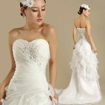 Vestido De Noiva Sereia Com Calda Pequena + Véu
