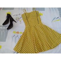 Vestido Vintage Poá Bolinhas Boneca Amarelo/preto Rodado