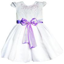Vestido Infantil Branco Laço Rosa Ou Lilás 2 A 5 Anos