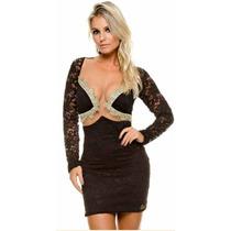 Vestido Renda C/detalhe Dourado Max Glamm Ref 77096