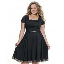 Moda Plus Size-vestido Preto De Renda