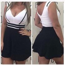 Vestido 3d Bicolor Panicat Com Bojo Balada Blogueira Boneca