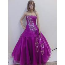 Vestido 15 Anos Lilás, Saia Longa Com Aplicado,bordado À Mão