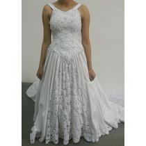 Vestido Noiva Branco Bordado Com Rechilie