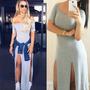 Vestidos Femininos Longos Viscolycra Fenda Dupla Sem Renda