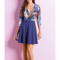 Vestido Evasê Azul E Estampado Curto Casual Básico Promoção