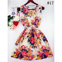 Vestido Florido Com Elástico Na Cintura Busto Até 99 Cm