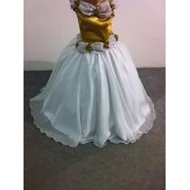Vestido Dama/princesa/formatura Voal Com Cetim Dourado