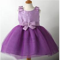 Vestido Festa Lilas Desenho De Flor Strass - Infantil