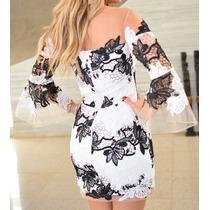 Vestido De Renda Da Litt Agilita Pretoe Branco Luxo