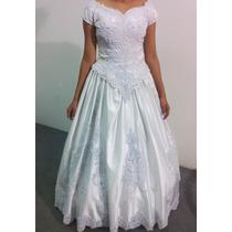 Vestido De Noiva Branco Cetim Bordado E Renda