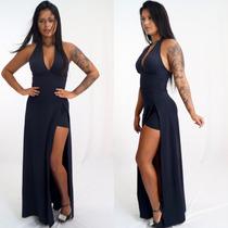 Vestido Longo Fenda Short Decote Roupa Feminina Panicat Bojo
