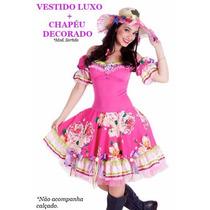Vestido De Festa Junina Luxo C/ Bojo + Chapéu Junino Caipira