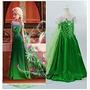Vestido Fantasia Rainha Elsa Febre Congelante Verde