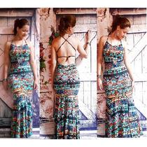 Vestido Costa Nua Longo Estampado Sereia Alcinha Com Bojo